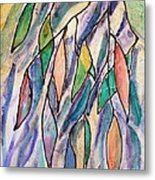 Stained Glass Leaves #2 Metal Print