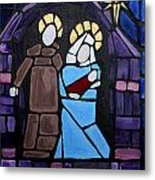 Stained Glass Nativity Metal Print