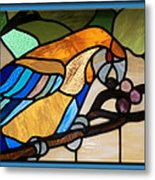 Stained Glass Parrot Window Metal Print