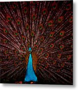 Stained Glass Peacock Metal Print