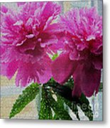 Stained Glass Peonies Metal Print