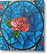 Stained Glass Roses Metal Print