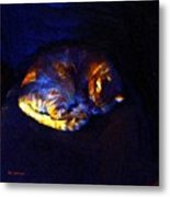 Stained Glass Snoozer Metal Print