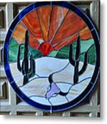 Stained Glass Sunrise Metal Print