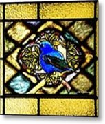 Stained Glass Template Blue Bird Of Happiness Metal Print