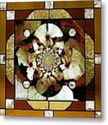 Stained Glass Template Sepia Flora Kalidescope Metal Print