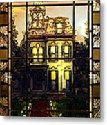 Stained Glass Template Victorian Twilight Metal Print