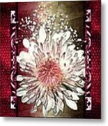 Stained Glass Template White Chrysanthemum Metal Print