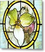Stained Glass Template Woodlands Flora Metal Print