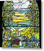 Stained Glass Tiffany Holy City Memorial Window Metal Print