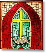 Stained Glass Window At Santuario De Chimayo Metal Print