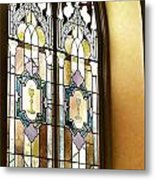 Stained Glass Window In Arch Metal Print
