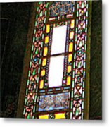 Stained Glass Window In Saint Sophia's In Istanbul-turkey  Metal Print