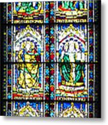 Stained Glass Window Of Santa Maria Del Fiore Church Florence Italy Metal Print