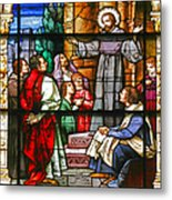 Stained Glass Window Saint Augustine Preaching Metal Print by Christine Till
