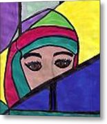 Stained Glass Woman Metal Print