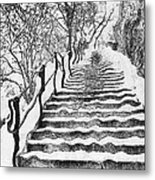 Stairs In Winter Metal Print by Odon Czintos