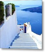 Stairs To The Blue Door Metal Print