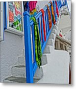 Stairs With Blue Railing In Mykonos Greece Metal Print