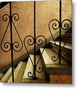 Stairs With Ornamented Handrail Metal Print