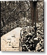 Stairway In Central Park On A Stormy Day Metal Print