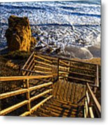 Steps To Blue Ocean And Rocky Beach Metal Print