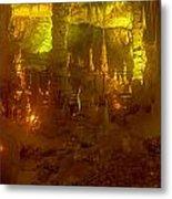 Stalactite Cave In Yellow Metal Print