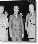 Stalin Truman And Churchill  Metal Print