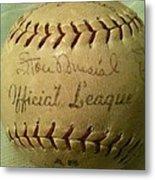 Stan Musial Autograph Baseball Metal Print
