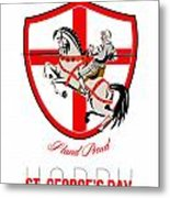 Stand Tall Happy St George Day Retro Poster Metal Print