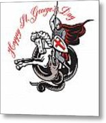 Stand Tall Proud English Happy St George Stand Retro Poster Metal Print by Aloysius Patrimonio