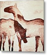 Standing In The Snow Metal Print