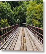Standing On A Bridge Metal Print