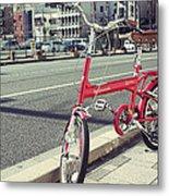 Standing Red Bike Metal Print