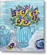 Stangl Pottery And Pansies Metal Print