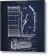 Stanton Bass Drum Patent Drawing From 1904 - Navy Blue Metal Print
