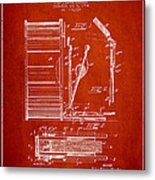 Stanton Bass Drum Patent Drawing From 1904 - Red Metal Print