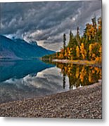 Stanton Mountain With Mount Vaught And Mcpartland Reflected In Lake Mcdonald Metal Print