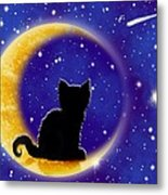 Star Gazing Cat Metal Print