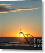 Star Jet Sunrise Silhouettte Metal Print