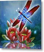 Star Spangled Dragonfly Metal Print