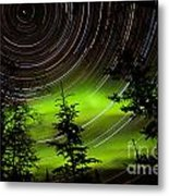 Star Trails And Northern Lights In Sky Over Taiga Metal Print