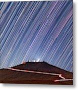 Star Trails Over Cerro Paranal Telescopes Metal Print