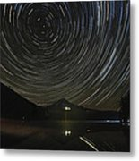 Star Trails Over Mount Hood At Trillium Lake Metal Print