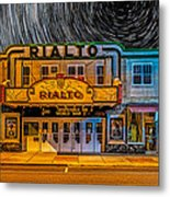 Star Trails Over The Rialto Metal Print