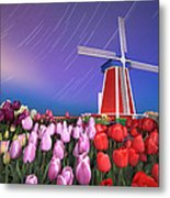 Star Trails Windmill And Tulips Metal Print