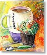 Starbucks Mug And Easter Cupcake Metal Print
