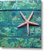 Seashore Peeling Paint - Starfish And Turquoise Metal Print