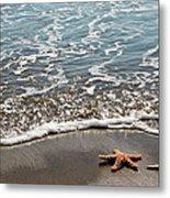 Starfish Catching The Waves Metal Print