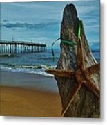 Starfish Driftwood And Pier 3 12/20 Metal Print